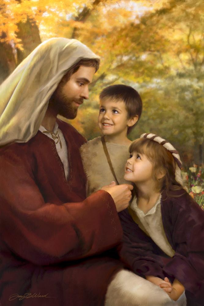 Jesus sits with boy and girl and reaches out to cradel her chin