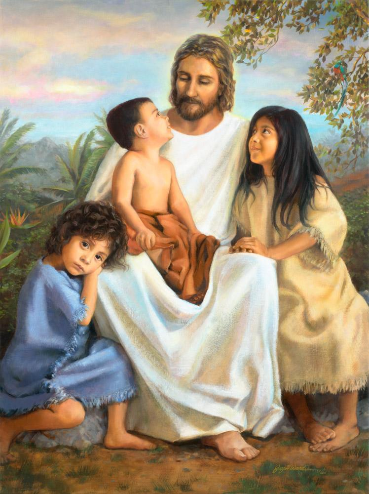 Jesus dressed in white flanked by two young girls and a small boy sits on his lap