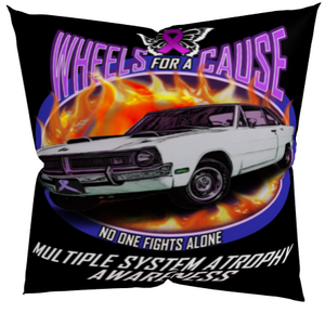 MSA Multiple System Atrophy Wheels for a Cause Pillow Black