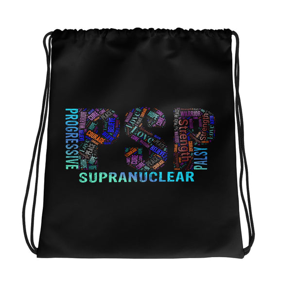 PSP Progressive Supranuclear Palsy Awareness Words Drawstring Bag.