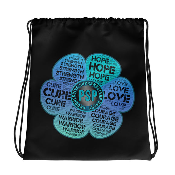 PSP Progressive Supranuclear Palsy Flower  Awareness Drawstring Bag