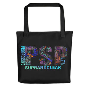 PSP Progressive Supranuclear Palsy Awareness Words Tote Bag.
