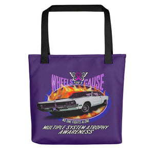 MSA Multiple System Atrophy Wheels for a Cause Tote Bag Purple