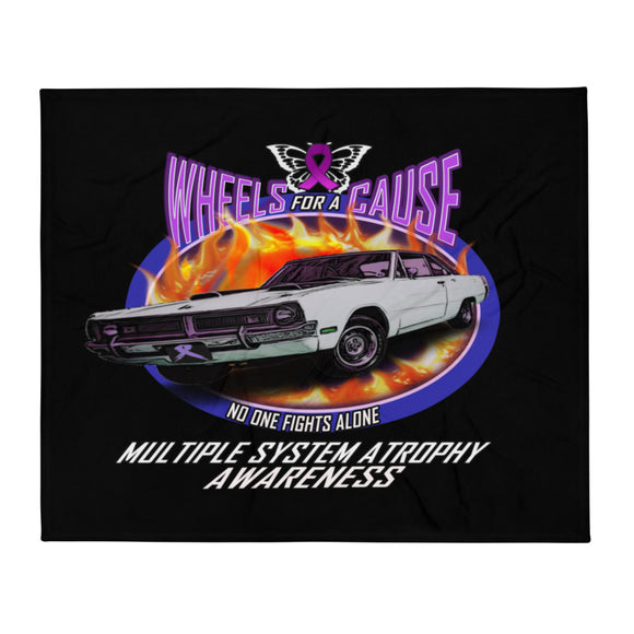 MSA Multiple System Atrophy Wheels for a Cause Throw Blanket Black