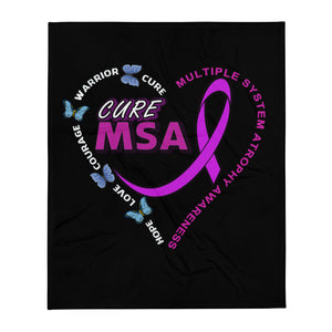"Cure MSA Multiple System Atrophy Awareness Throw Blanket 50""x60"""