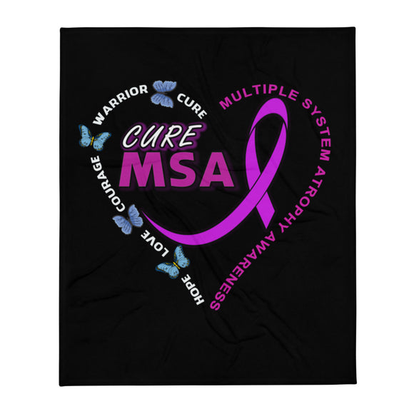 Cure MSA Multiple System Atrophy Awareness Throw Blanket 50