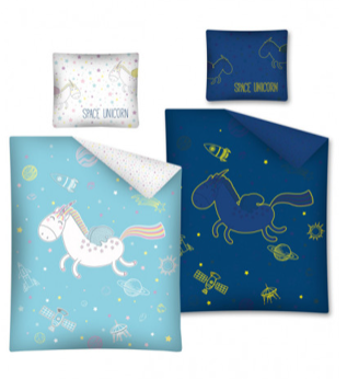 SPACE UNICORN 'Glow In The Dark' Euro 100% Cotton Single Doona Cover Set ~ SALE