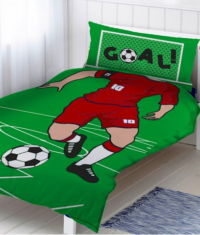 SOCCER 'Red Player' Single Doona Cover Set