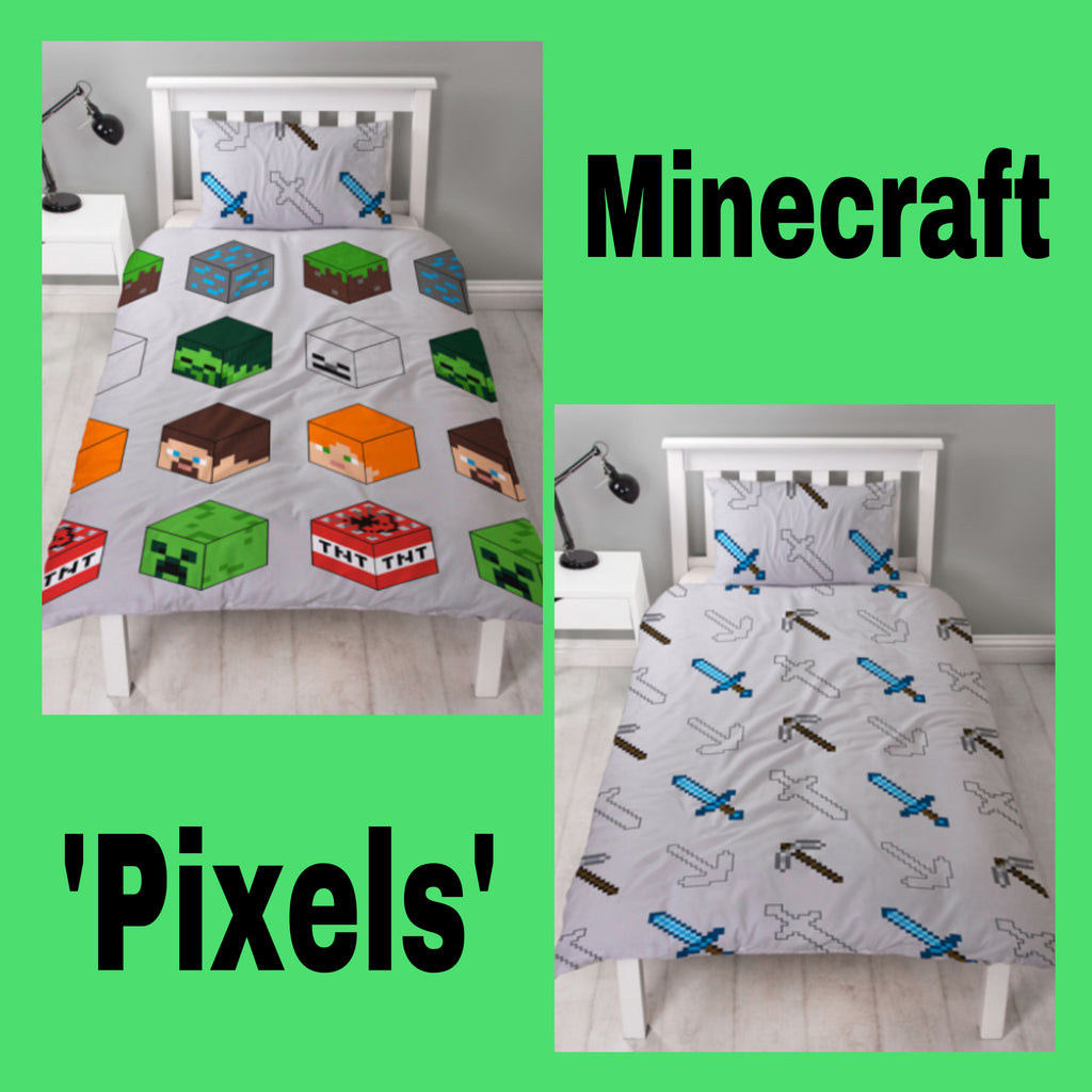 Single Bed Doona Cover Set 'Pixels' ~ Minecraft
