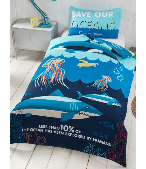 Single Bed Doona Cover Set 'Ocean Life' ~ National Geographic - PRE ORDER