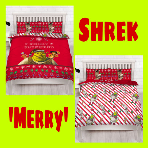 Double / Queen Bed Doona Cover Set 'Merry' ~ Shrek - SALE