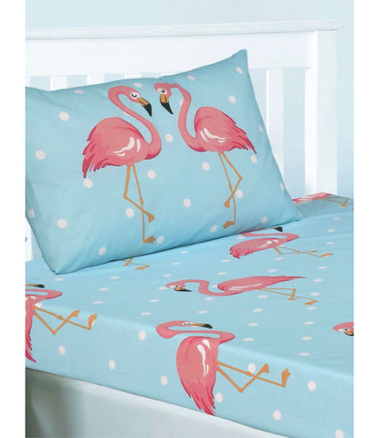 Fitted Sheet & Pillowcase ~ Flamingo