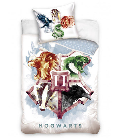 100% Cotton 50 x 75cm Pillowcase Single Bed Doona Cover Set 'Hogwarts Crest' ~ Harry Potter