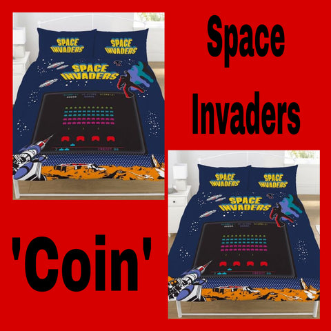 Double / Queen Bed Doona Cover Set 'Coin' ~ Space Invaders - SALE