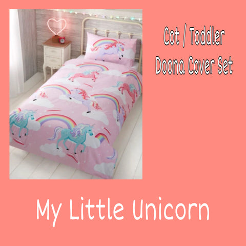 Cot / Toddler Bed Doona Cover Set 'My Little' ~ Unicorn