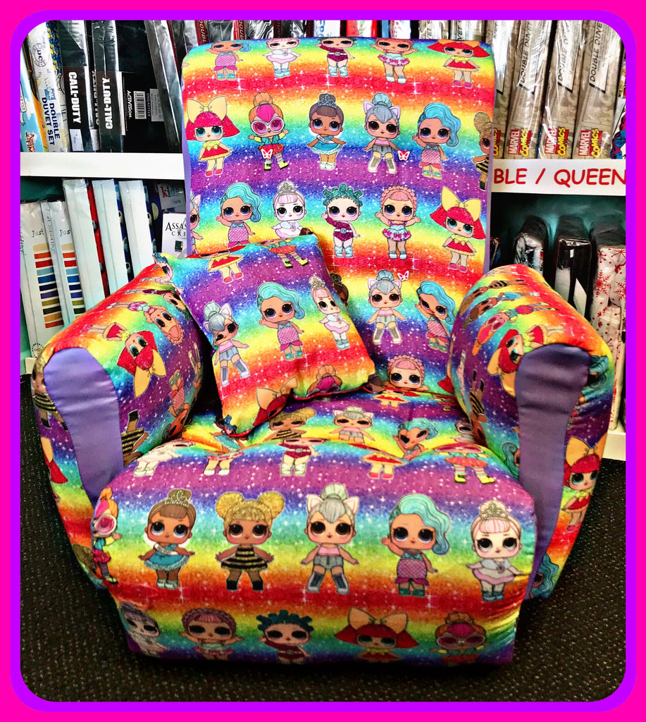 Wooden Framed Upholstered Kids Lounge / Reading Chair 'Rainbow' ~ LOL Surprise Dolls