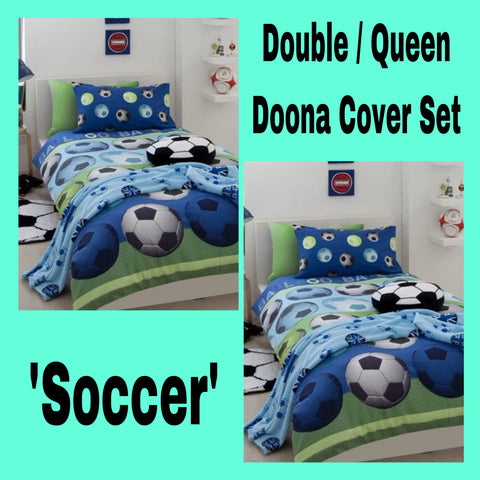 Double / Queen Bed Doona Cover Set 'Catherine Lansfield' ~ Soccer Blue - SALE