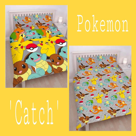 Double / Queen Bed Doona Cover Set 'Catch' ~ Pokemon