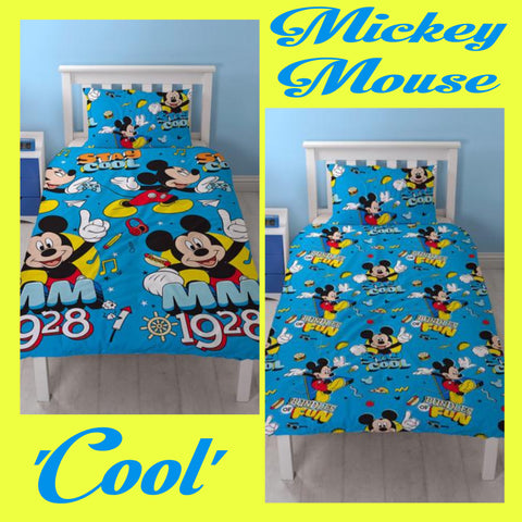 Single Bed Doona Cover Set 'Cool' ~ Mickey Mouse - PRE ORDER