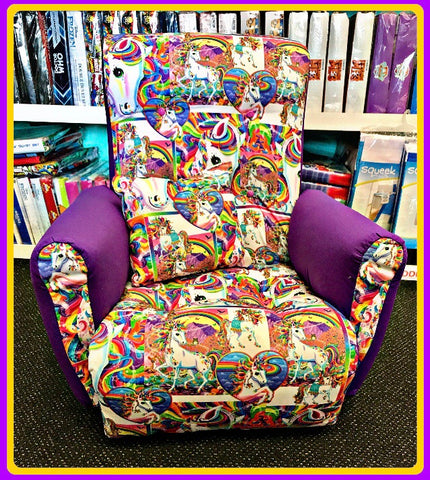 Wooden Framed & Upholstered Kids Lounge / Reading Chair ~ Rainbow Unicorns