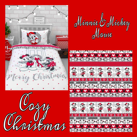 Single Bed Doona Cover Set 'Cozy Christmas' ~ Minnie & Mickey Mouse - SALE