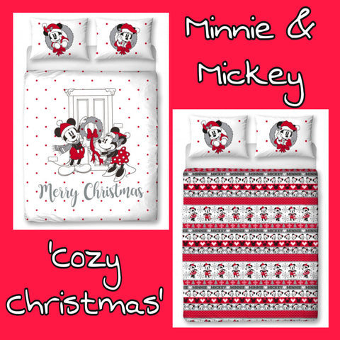 Double / Queen Bed Doona Cover Set 'Cozy Christmas' ~ Minnie & Mickey Mouse