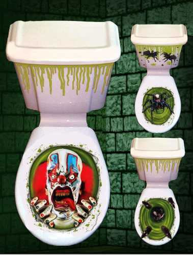 HALLOWEEN 'Scary' Toilet & Cistern Decoration - SALE