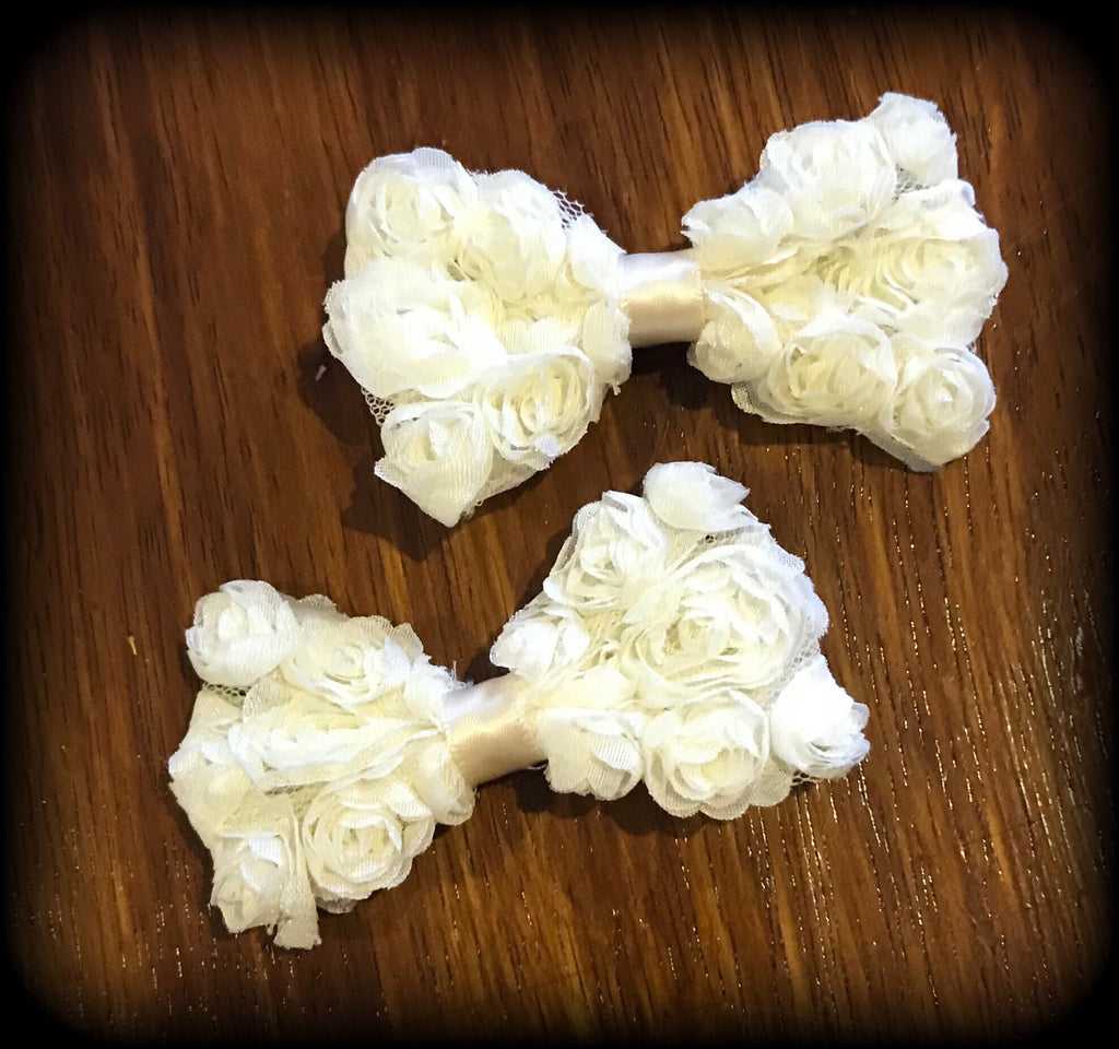 RUFFLE ROSE 'Ivory' Hair Clips Set Of 2