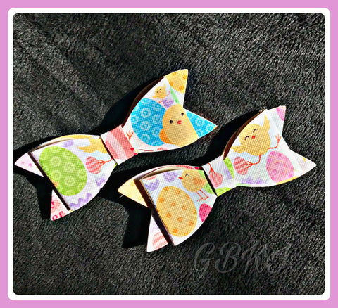 EASTER Faux Leather Bow On Clips Set Of 2