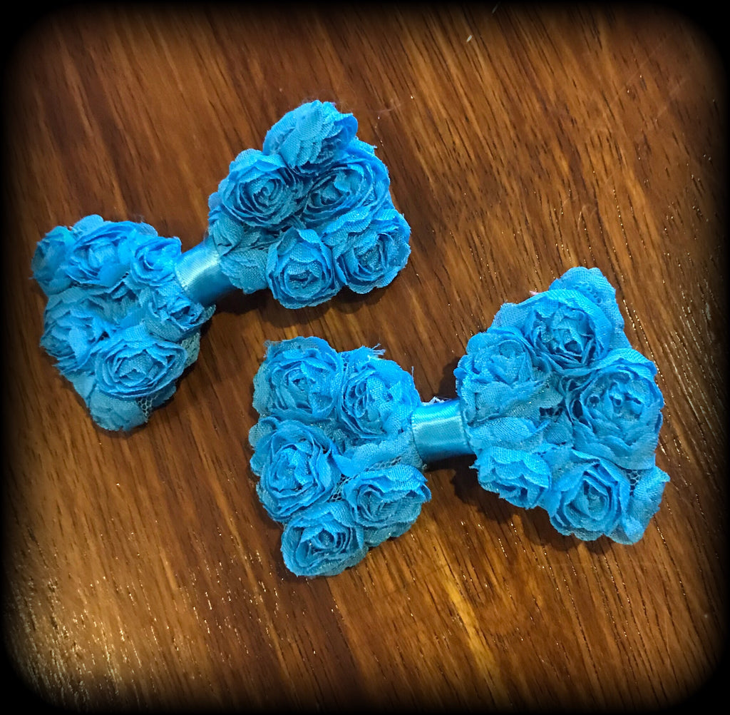 RUFFLE ROSE 'Blue' Hair Clips Set Of 2