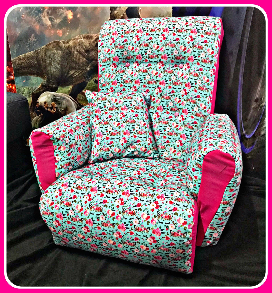 UNICORN FLOWERS Wooden Framed & Upholstered Kids Lounge / Reading Chair