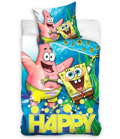 Euro 100% Cotton Single Bed Doona Cover Set 'Happy' ~ Spongebob
