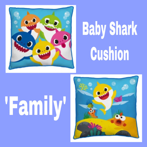 Filled Square Cushion 'Family' ~ Baby Shark - PRE ORDER