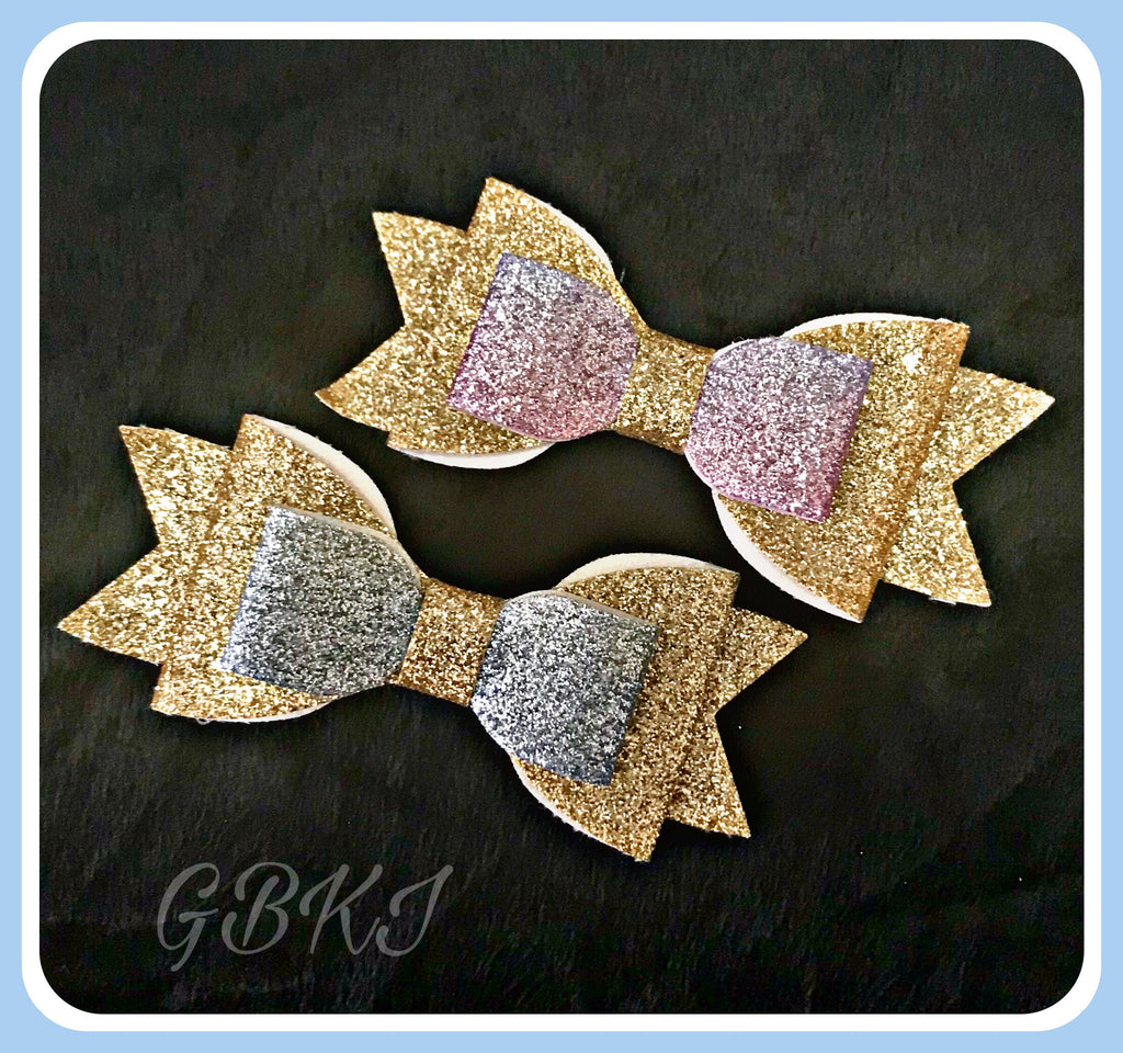 GLITTER 'Multi Colour' Bows On Hair Clips Set Of 2