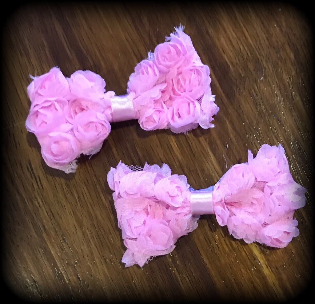 Ruffle Rose Hair Clips Set Of 2 ~ Light Pink