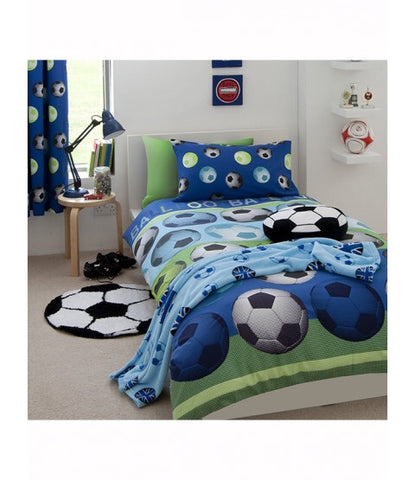 Double / Queen Bed Doona Cover Set 'Catherine Lansfield' ~ Soccer Blue