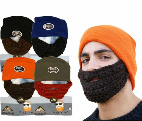 Beanie With Fuzzy Beard - SALE