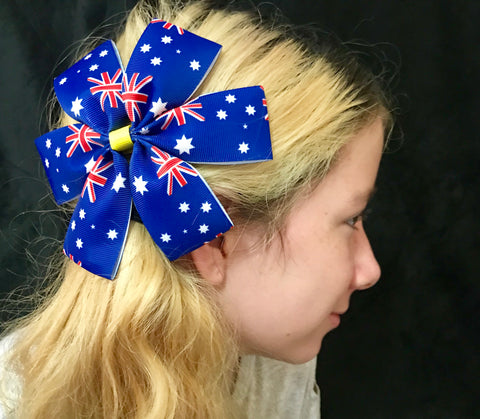 AUSTRALIA DAY 'Flag' Medium Bow Hair Clips