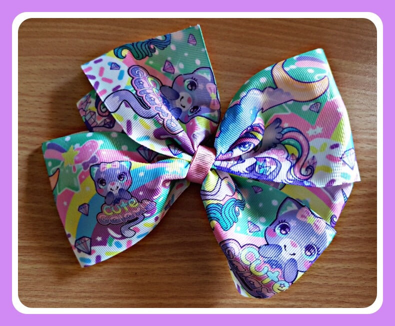 UNICORN UNI-CAT Extra Large Bow On Hair Clip