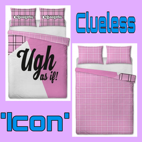 Double / Queen Bed Doona Cover Set 'Icons' ~ Clueless