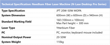 Load image into Gallery viewer, Needham Fiber Laser Machine (N-Lase Desktop Pro Series) - Technical Specifications table