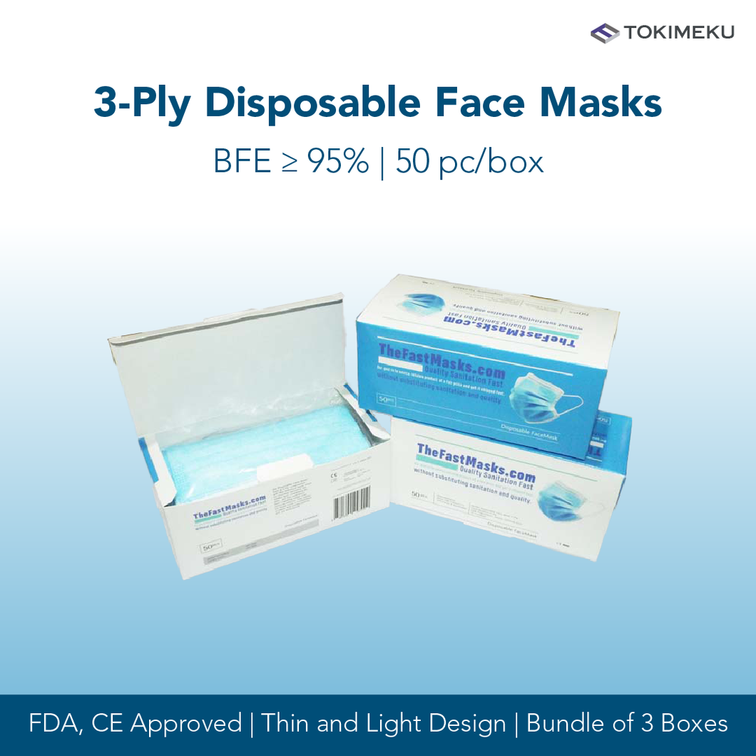 3-Ply Disposable Face Mask, BFE >95% [Bundle of 3]