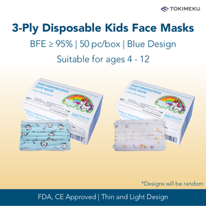 3-Ply Disposable Kids Face Mask, BFE >95% (Blue Design)