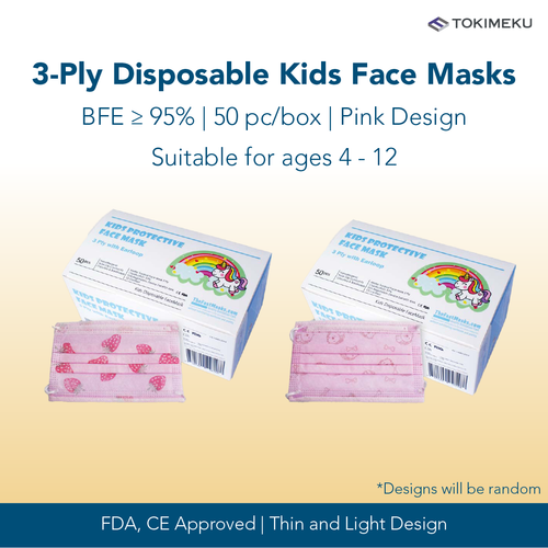 3-ply children disposable surgical face mask BFE >95% - pink cartoon design