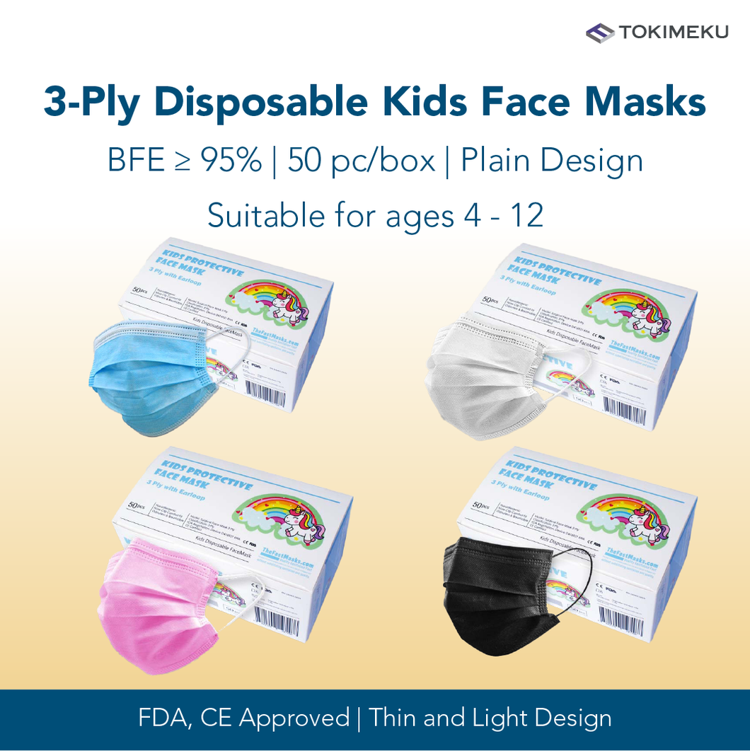 3-Ply Disposable Kids Face Mask, BFE >95% (Plain Design)
