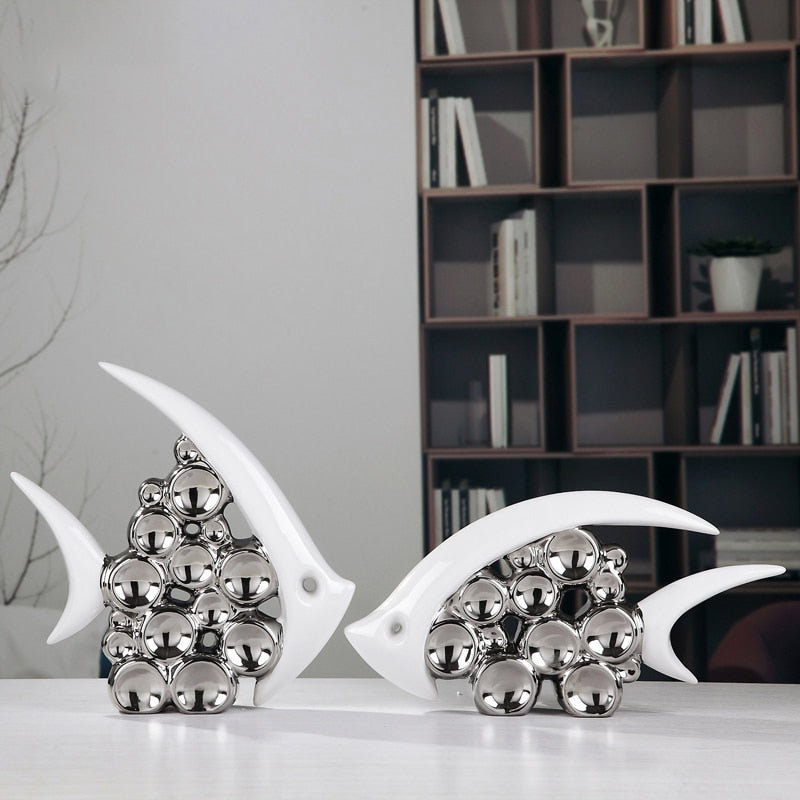 Silver Fish Sculptures - Rari Luxuries