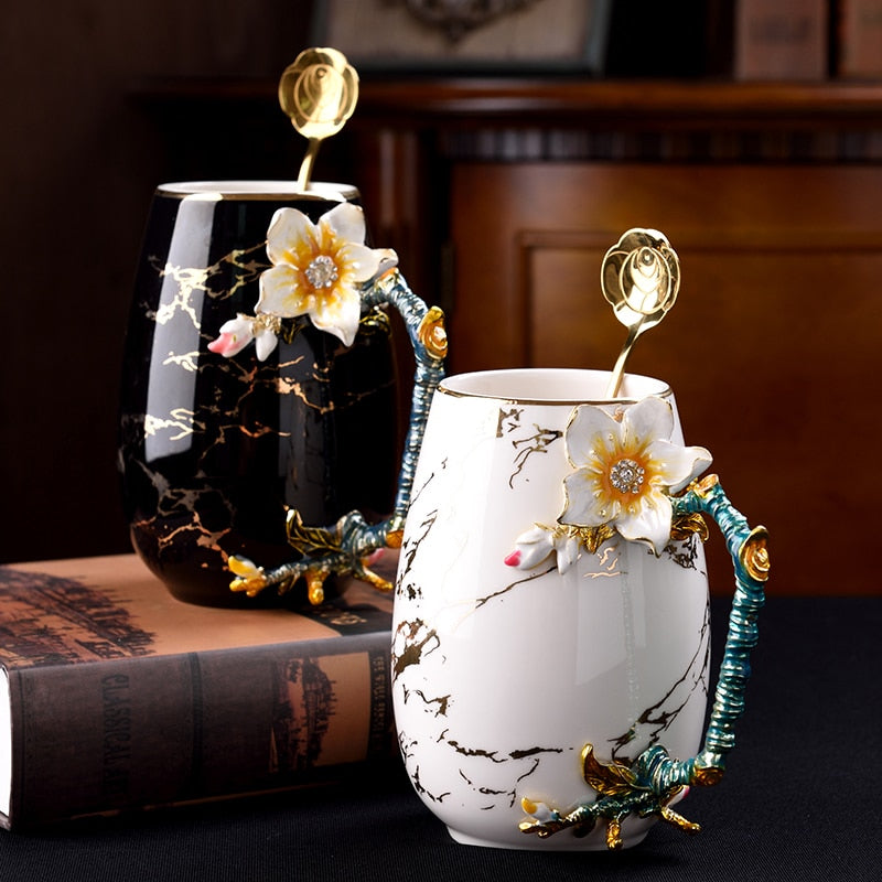 Floral Bone China Mug - Rari Luxuries