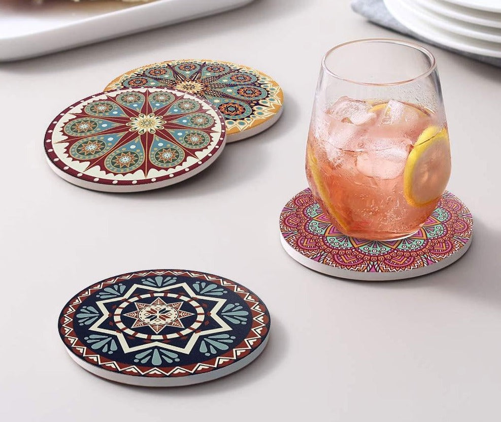 Mediterranean Style - Absorbent Coaster Set - Rari Luxuries