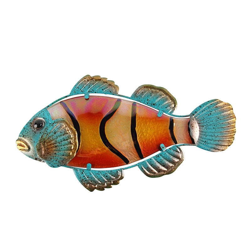 Metal and Glass Fish Wall Art - Rari Luxuries