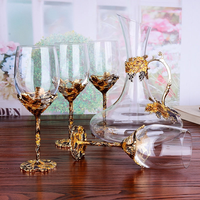 European Enamel Wine Glasses And Decanter - Rari Luxuries